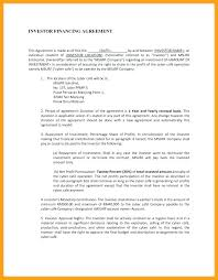Investment Agreement Template Free Sample Contract Form ...