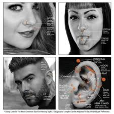 Labret Stud Size Chart Body Piercing Charts Ears Jewelry Sizes Gauge Info