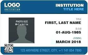 Id Card Templates Free Id Card Template Free Id Card Template Id Card Template Size