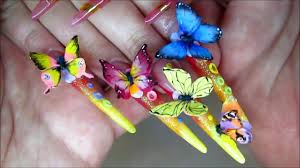 Nail art 3D. Acrylic molding. Butterfly. Flowers. SUPER - YouTube