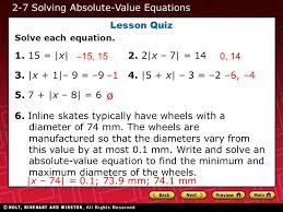 2 7 solving absolute value equations