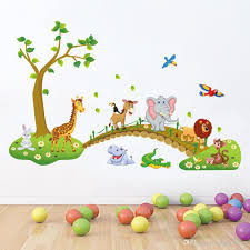 kids room nursery wall decor decal sticker cute big jungle animals bridge wall sticker baby room wallpaper decal posters wall decal stickers cute animals  on jungle animal wall art with kids room nursery wall decor decal sticker cute big jungle animals