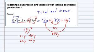 aleks factoring a quadratic in two variables with leading coefficient greater than 1