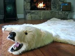 faux bear skin rug rugs white with head