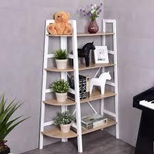 Wooden Ladder Display Stand Costway 100 Tier Wood Corner Bookcase Ladder Shelf Wall Unit 71
