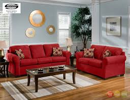 Microfiber Living Room Chairs Cabot Red Microfiber Sofa Love Seat Casual Living Room Furniture