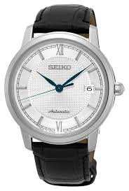 seiko watches official uk retailer first class watches seiko mens presage automatic black leather strap silver dial srpa13j1