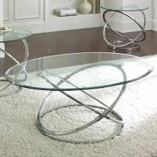steve silver orion 3 piece glass top coffee table set w chrome base