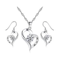 heart shaped crystal 18k white gold plating set for mum made with crystals from swarovski