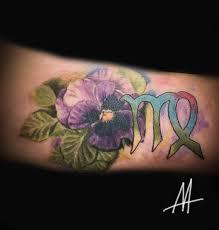 цветы и знак зодиака тату на предплечье у девушки добавлено