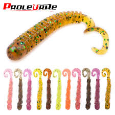 10pcs/Lot Swivel Worms Soft <b>Fishing Lures 6.5cm</b> 1.3g Jig Wobblers ...
