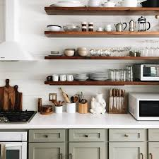 wood open shelving we think you can never have enough floating shelvesand this kitchen understands awesome