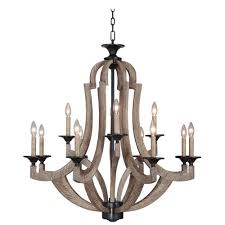 winton weathered pine and bronze 12 light chandelier