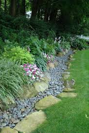 garden s edge with large and small river stones