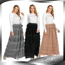 Fashion Design Skirt 2019 Cm2238 New Turkish Islamic Dress Fashion Muslim Cake Skirt Long Skirt Layered High Waist Ruffle Pleated Skirt From Donnatang240965 22 62