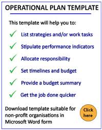 Operational Planning: Operational Plan Template