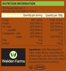 walden farms maple sauce nutritional information