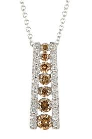 image of effy 14k white gold diamond cognac diamond pendant necklace