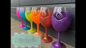 Diy Glass Cup Designs Diy How To Glitter A Wine Glass