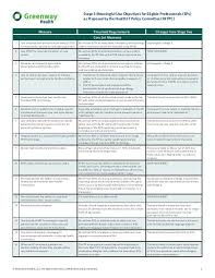 Meaningful Use Stages Chart Stage 3 Meaningful Use Objectives Chart Greenway Medical
