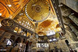 stock photo golden domes frescoes and six winged him in the hagia sophia with chandeliers