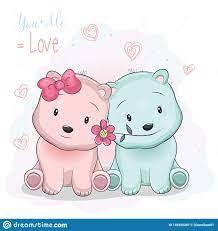 Two Cute Cartoon Bears Boy And Girl On ...