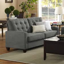 ... Living Room Ideas  Enchanting White Cushions On Two Seater Modern  Charcoal Sofa And Black Coffee Desk On Grey Area