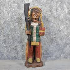 carved wooden indian 11624 for the taxidermy