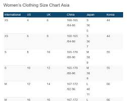 China Women S Size Chart Size Chart Shop From China Direct