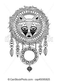 Native Dream Catchers Drawings Indian dream catcher with ethnic ornaments and fox Native 36