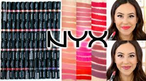 nyx matte velvet matte lipsticks arm lip swatches review all shades