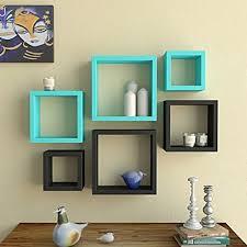 office hanging shelves. Decorative Wooden Floating Wall Shelf For Home \u0026 Office Decor Set Of 6 Square Shape Storage Unit Hanging Shelves Display Rack - Black Sky Blue T