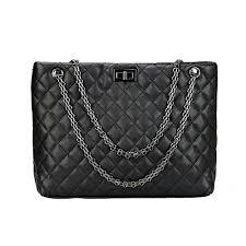 Black Quilted Handbags: Amazon.com & Quilted Metal Chain Strap Tote Shoulder Handbag Bags for Women (Black) Adamdwight.com