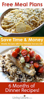 Planned Meals For A Week Money Saving Free Meal Plans Recipe Ideas Grocery Lists