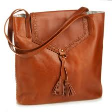 laced leather tote camel