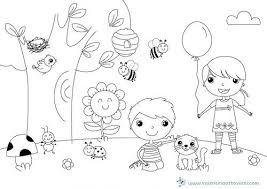 Disegno Da Colorare Prato Bambini E Tanti Animaletti
