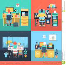 home ofice work home office. Flat Vector People Work At Home Or Office In Workplace Stock - Illustration Of Home, Girl: 59051098 Ofice B