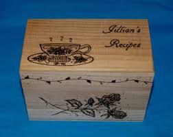 Decorative Recipe Box Decorative Recipe Box Personalized Wood Burned Recipe Card 48