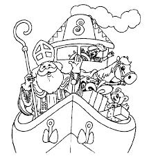 Kleurplaat Sinterklaas Op De Pakjesboot Kleurplaatjenl