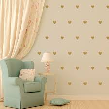 small hazel green little vinyl heart wall decals on a biege wall with a white drape on rose gold wall art stickers with little hearts urbanwalls