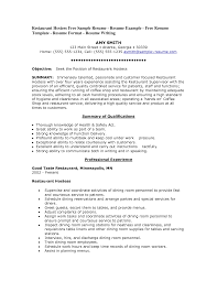 Objective Restaurant Resume Objective