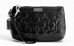 COACH Medium Black Patent Leather Embossed C Signature Wristlet 47207