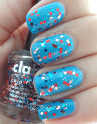 Claires Glitter And Barry M Cyan Blue Brit Nails