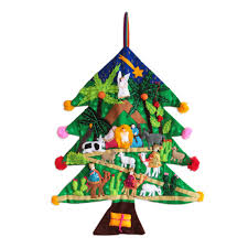 Wall Christmas Trees Peruvian Christmas Tree Applique Wall Hanging Happy Nativity