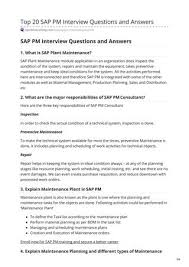 Top 20 Interview Questions Top 20 Sap Pm Interview Questions And Answers By