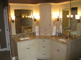 collection in bathroom corner vanity cabinets with lighted magnifying makeup mirror bathroom transitional with corner