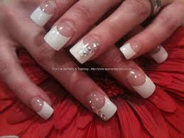Eye Candy Nails & Training - White tips with Swarovski nail art by ...