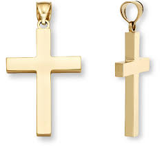 18k gold men s polished cross pendant
