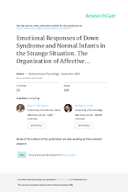 Pdf Emotional Responses Of Down Syndrome And Normal Infants
