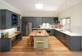 wonderful white small spaces kitchen design with gray kitchen cabinet with white countertops and green island